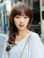 粉红时代 - 盖顶刘海 ) 韩国女士假发空气刘海 - 齐刘海 补发盖顶刘海(Most原丝)