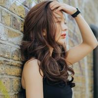 粉红时代 半假发) Love Sunshine (Lex原丝) 55cm 假发女 长卷发无刘海大波浪卷假发时尚半顶假发套露额头长发韩国
